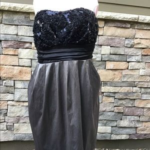 Maurices Dresses - Strapless grey/black prom dress, 2 pockets